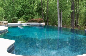 infinity edge pool with spa and diving board