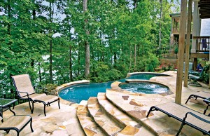 vanishing edge pool with spa in the woods