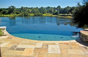 vanishing edge pool with spa near pond
