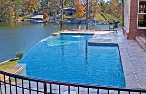 vanishing edge pool with laminar jets near pond
