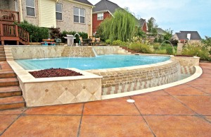 vanishing edge pool with laminar jets and waterfall steps