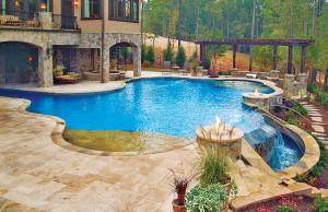 large vanishing edge pool with tanning ledge and laminar jets
