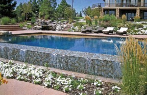 vanishing edge pool with tanning ledge