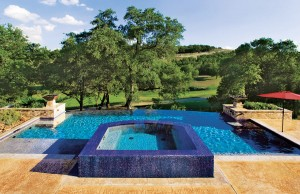 infinity edge pool with spa and tanning ledge