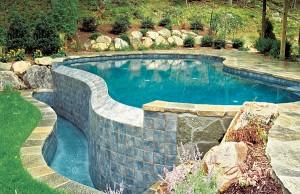 vanishing edge pool with waterfall