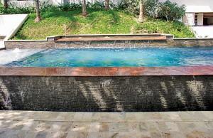 vanishing edge pool with cascade waterfall