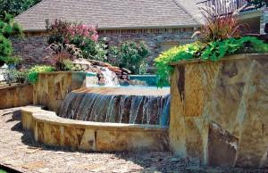 vanishing edge pool with rock waterfall